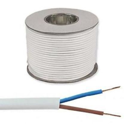 Picture of 0.75mm 2182Y White Two Core Round Circular PVC Flexible Cable - 100m Drum