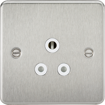 Picture of 5A Unswitched Socket - Brushed Chrome with White Insert