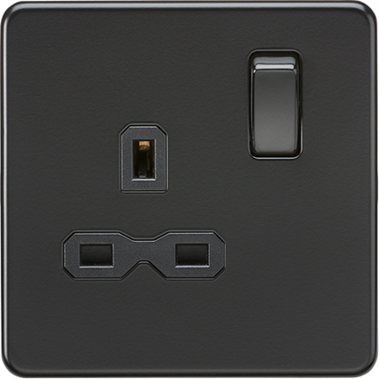 Picture of 13A 1 Gang Double Pole Switched Socket - Matt Black with Black Insert