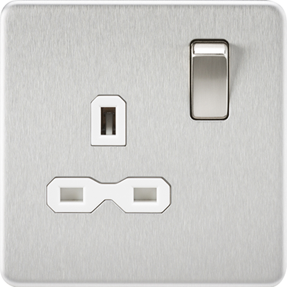Picture of 13A 1 Gang Double Pole Switched Socket - Brushed Chrome with White Insert
